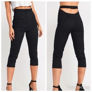 TOBI Smoking Aces High rise belted Open Back Pants